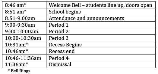 Half Day Schedule