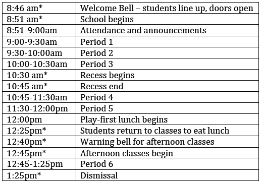 Early Dismissal Collab Sched