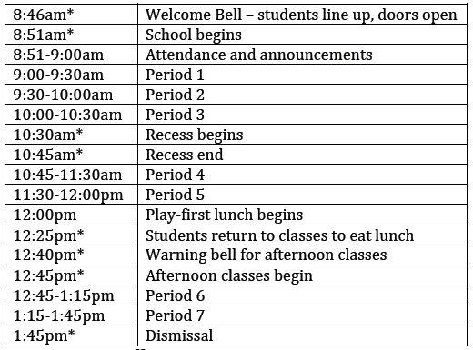 Early Dismissal PT Night Sched